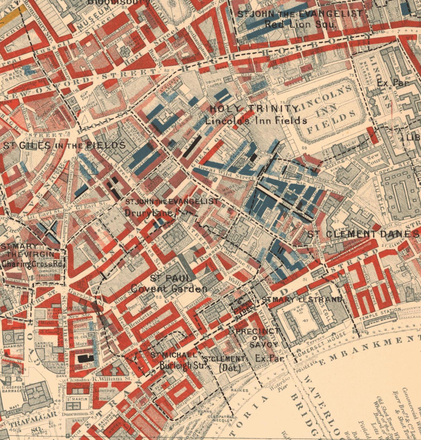 Colour image of a map of Covent Garden area, with different colours indicating different levels of wealth and poverty