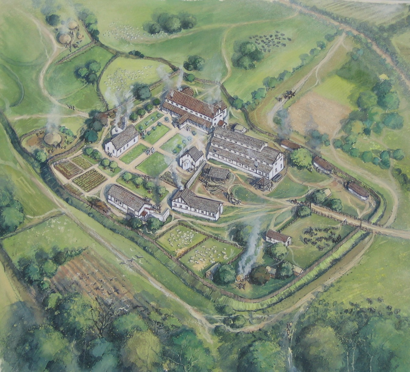 An artists' impression of Dalton Parlours showing a complex of two large buidlings, three mid sized and two smaller houses arranged in a loose square with green areas in the centre.