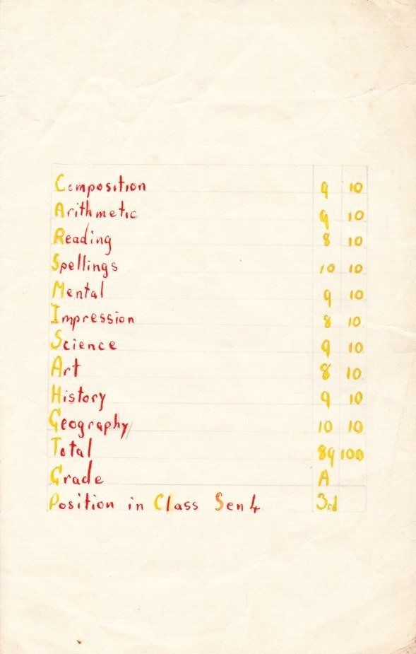 Coloured photograph of a list of school subjects and marks
