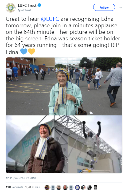 Screenshot of two photos of Edna from Twitter along with messages of condolences