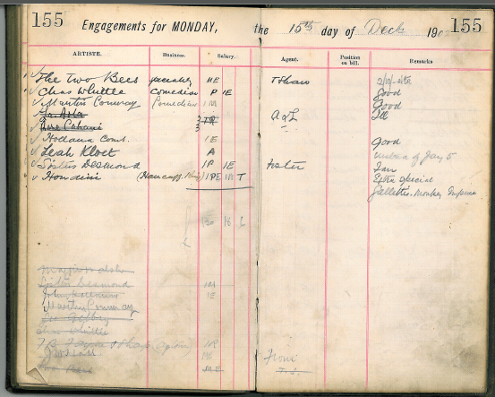 The Management Book with handwritten entries for Monday, one of which is about Houdini.