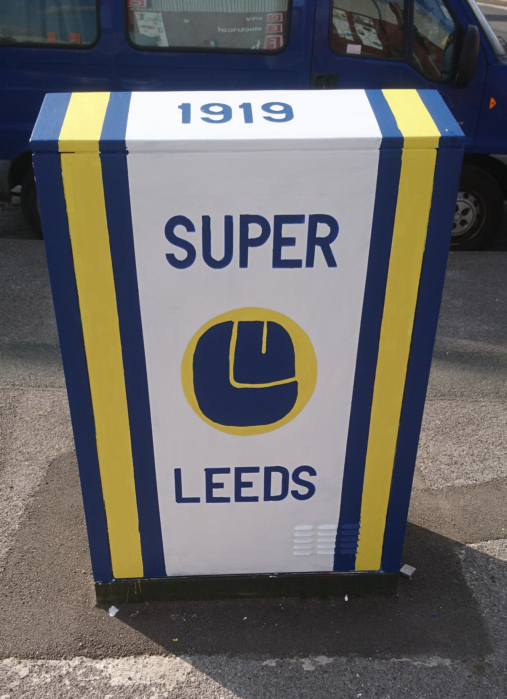 Utility box outside Elland Road stadium, painted by local fan