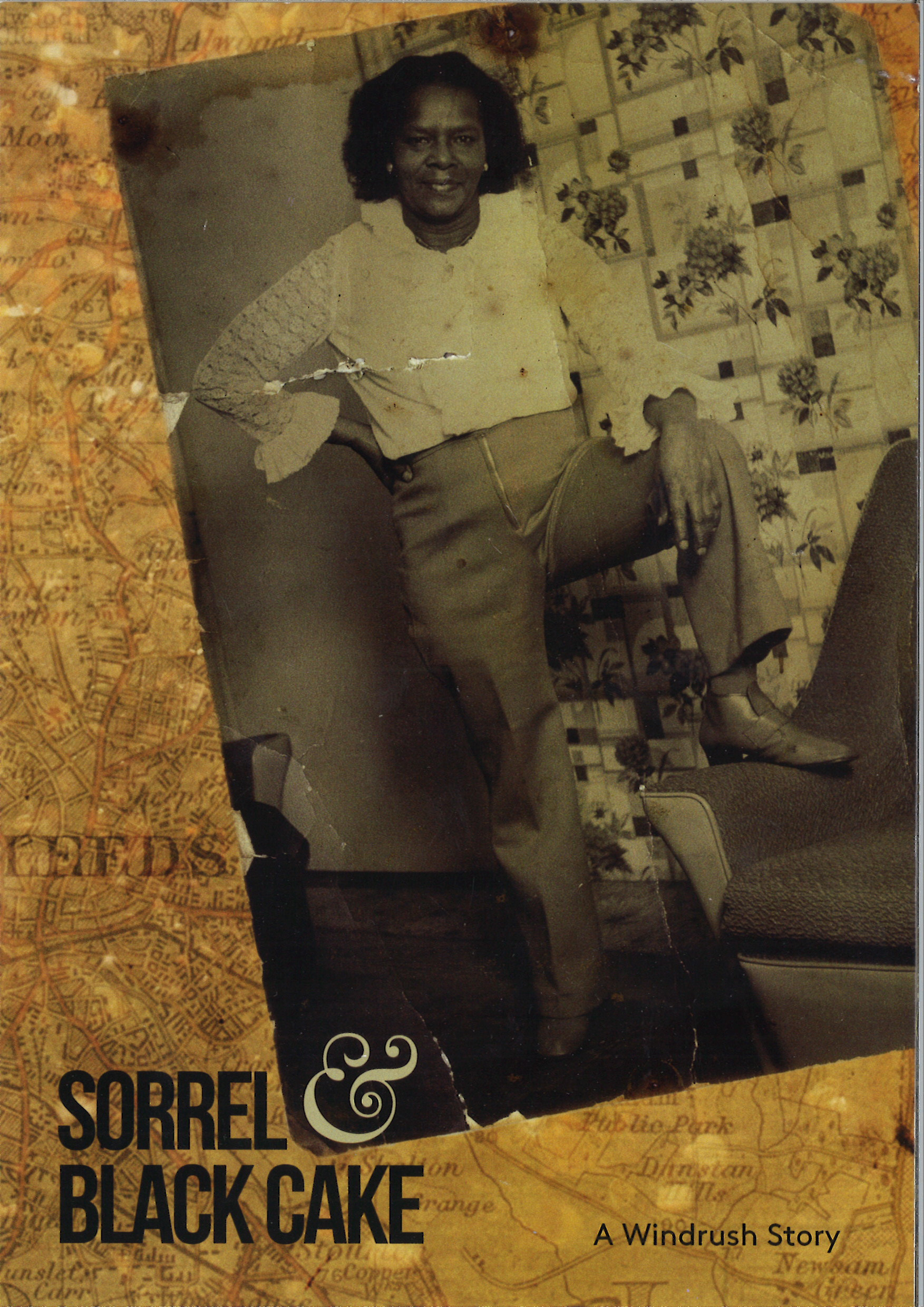 A5 flyer showing a black and white photograph of a lady of Carribean heritage standing with her foot on a sofa.
