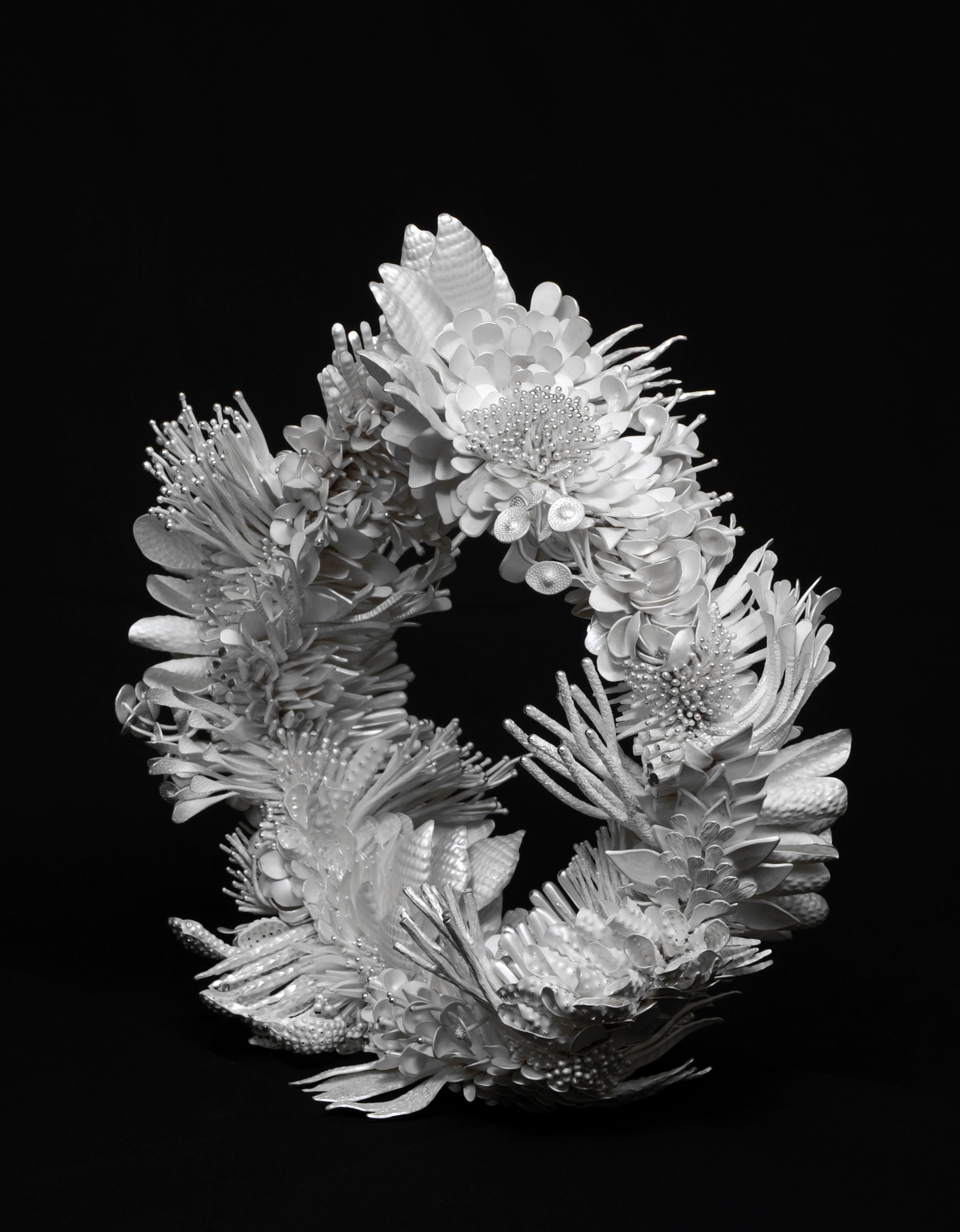 Silver wreath sculpture by Junko Mori