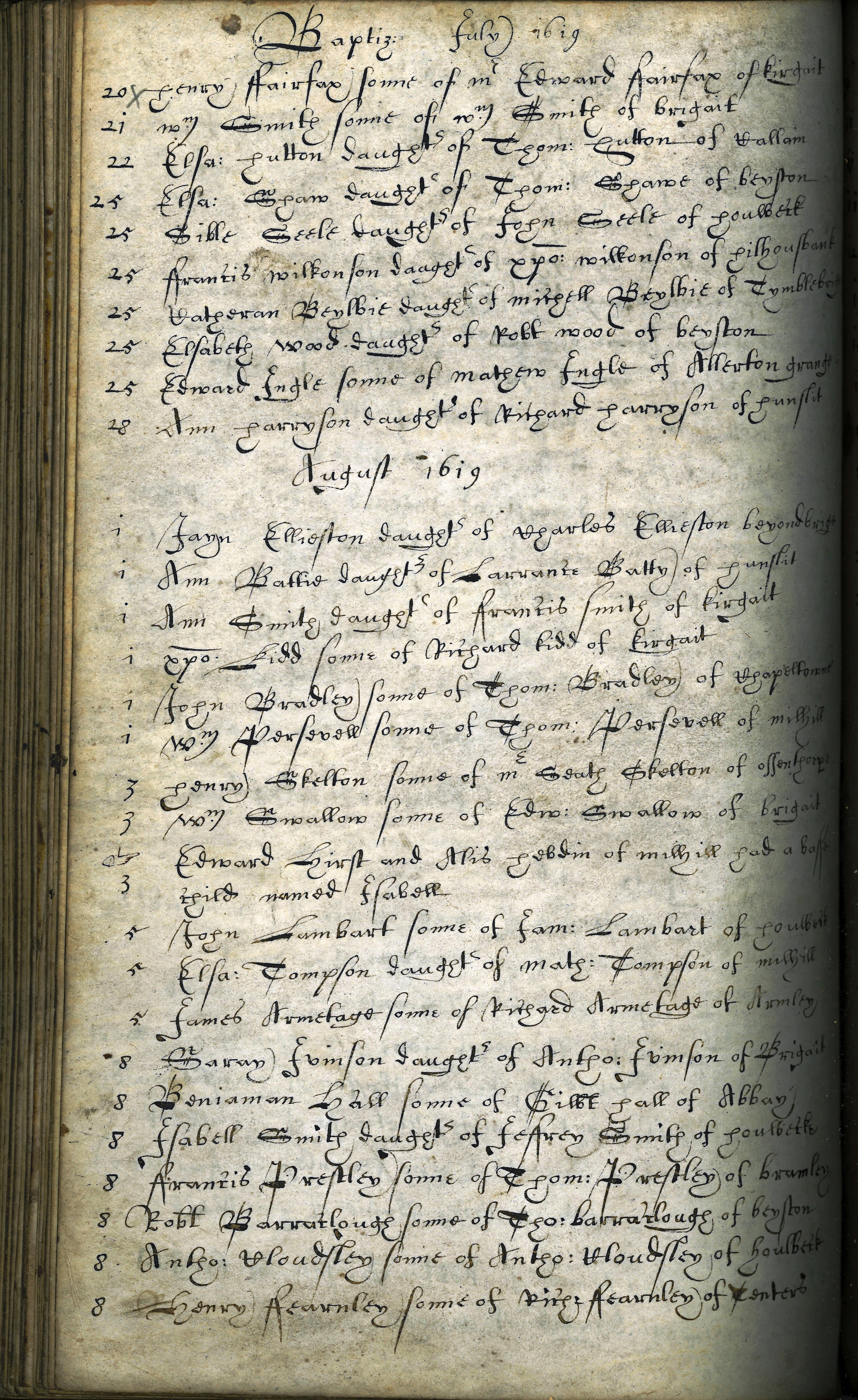 Page showing baptisms at St Peter's Church, Leeds during 1619.