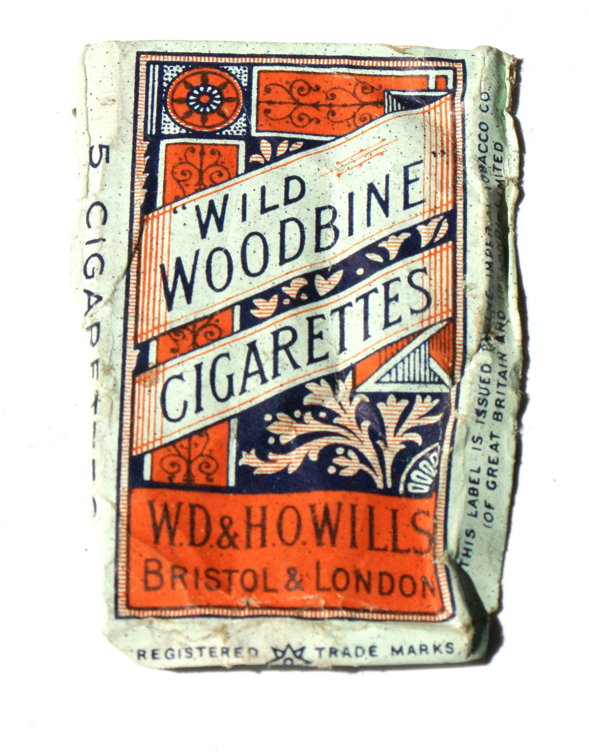 Colour photograph of a packet of cigarettes. It says 'wild woodbine cigarettes' in dark blue text on a design in orange.