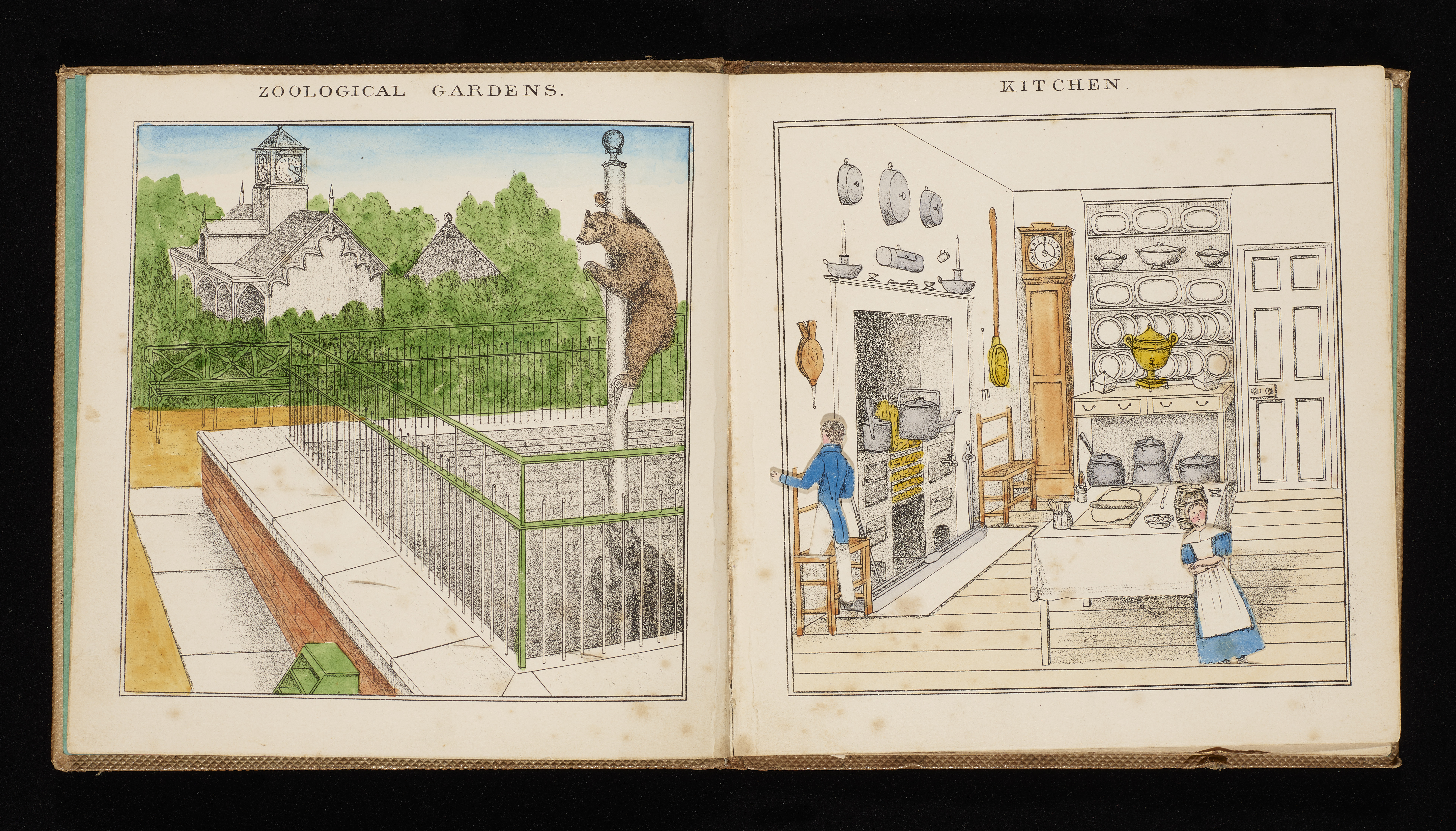 Two colour illustrated scenes, one showing a zoo with two bears climbing a pole, and one showing a kitchen.
