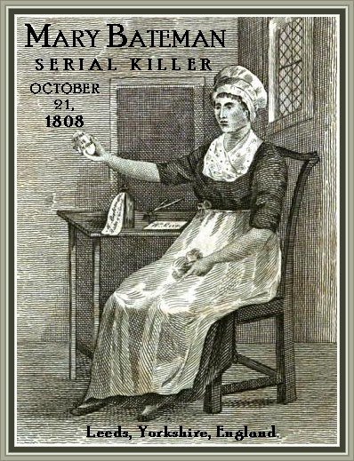 Drawing of Mary Bateman.  She is shown sitting in a chair, wearing a white skirt and hat with a dark coloured shirt.  she is holding out an egg shaped object.
