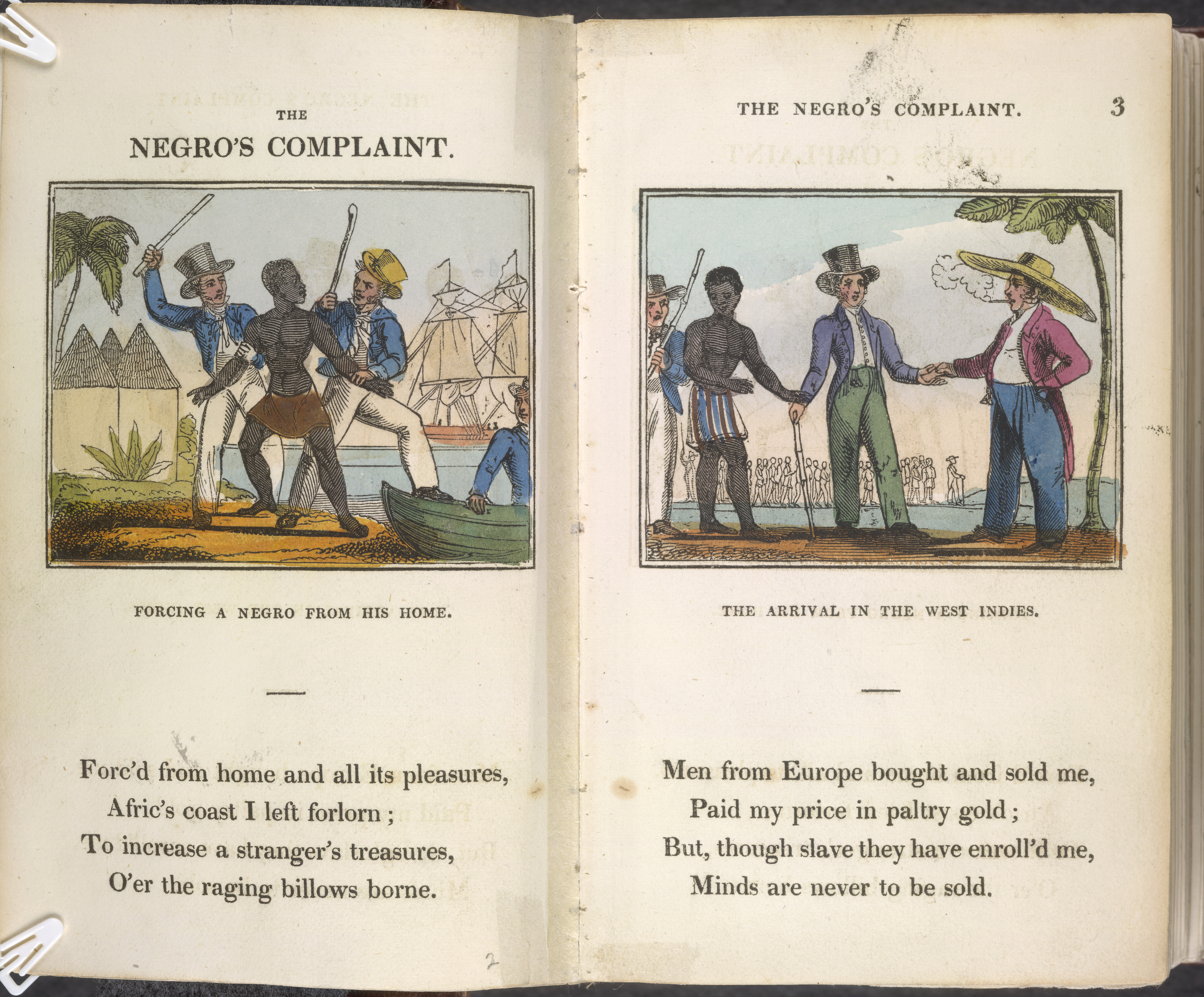 Double page spread with a stanza of a poem and a coloured woodcut on each page showing white plantation owners with a black slave.
