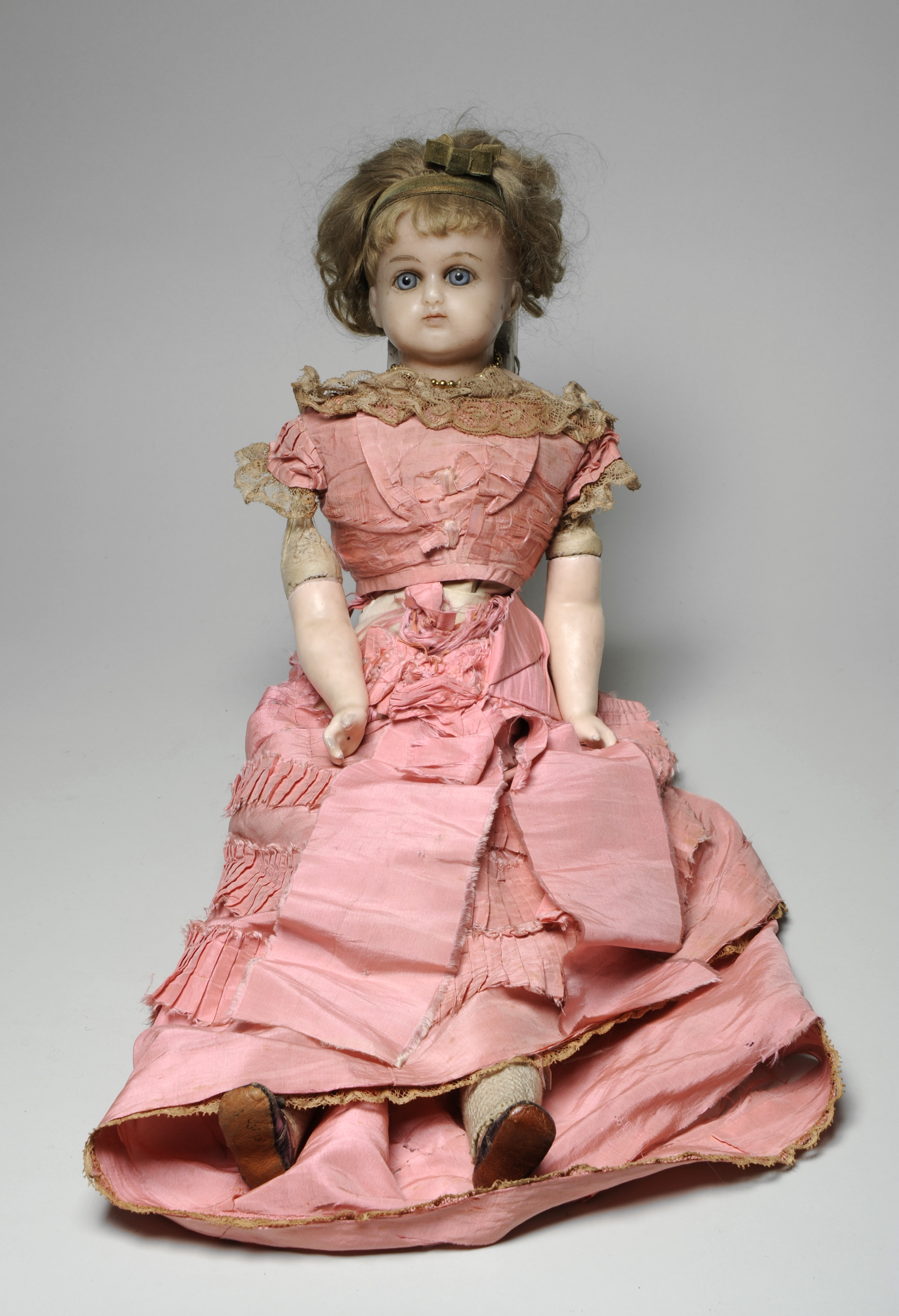 Victorian Wax Doll with pink dress