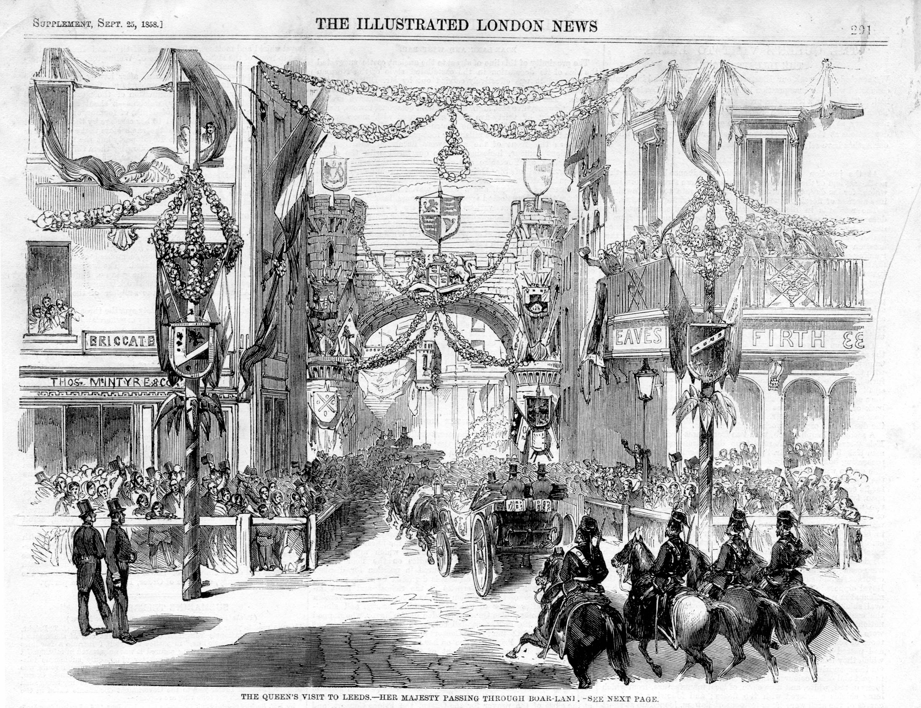 Black and white drawing showing the Queen and her entourage entering the city through an archway