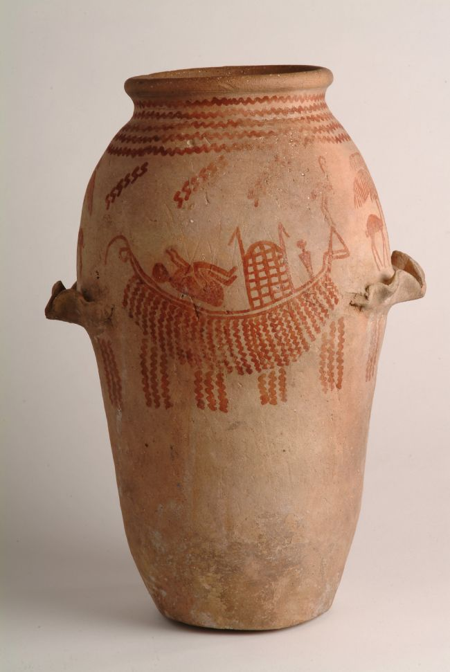 Pottery jar painted with a scene showing a mummy in a boat