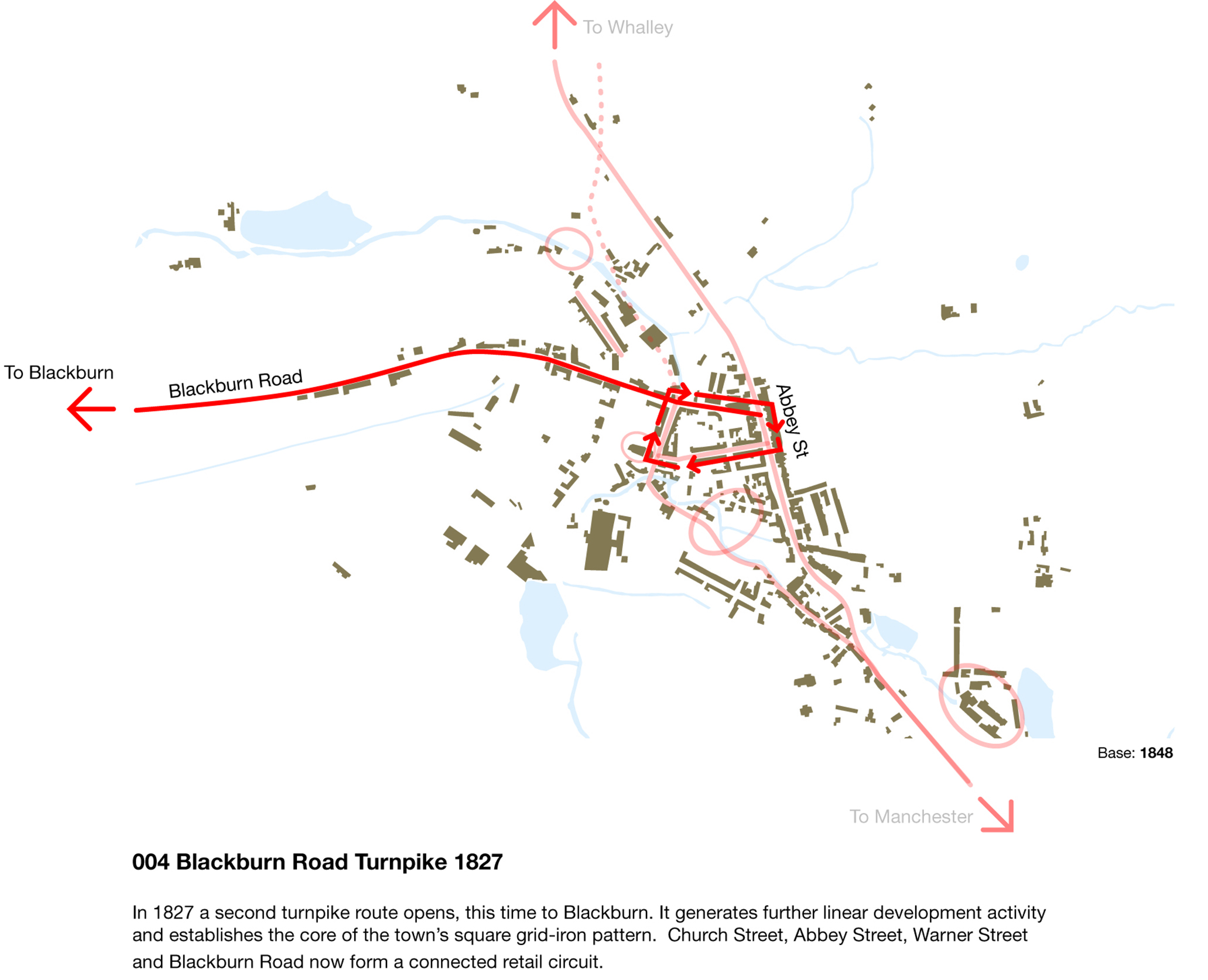 Coloured contemporary map showing the location of the Blackburn Road
