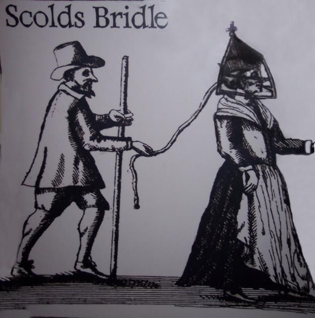 Engraving of a Scold's Bridle being worn