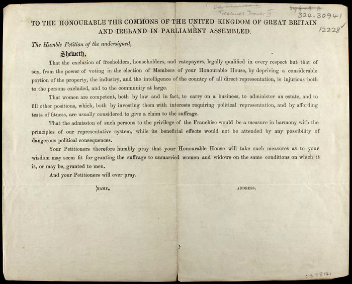 1866 petition for votes for women