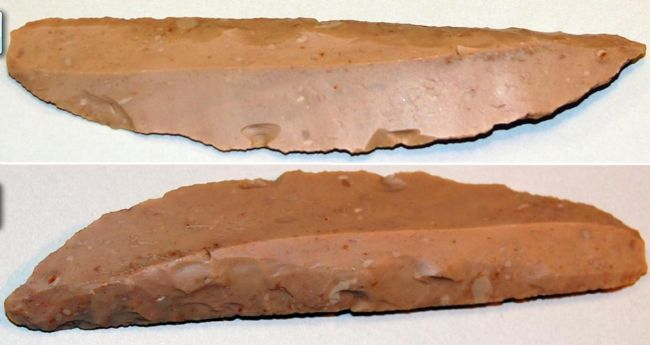 Two images of a flint knife at different angles, showing the worked blade