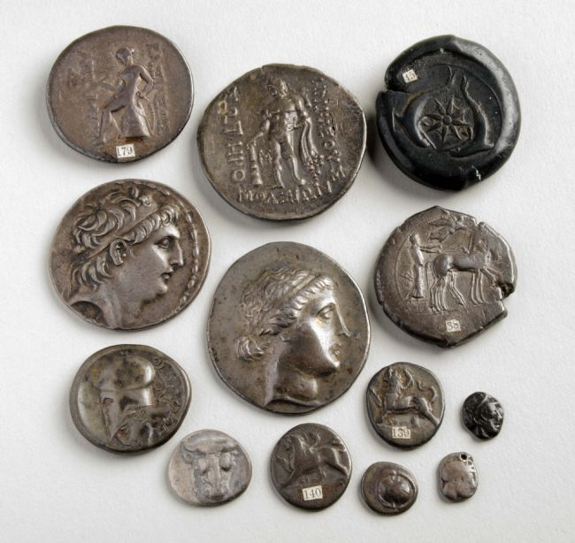 13 coins of differing sizes and designs, including portraits, figures and animals.  Most are mishapen and some have bits missing out of the edges