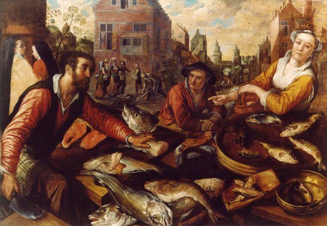 Oil painting: The Fish Market, by Joachim de Beuckelaer 1570-74