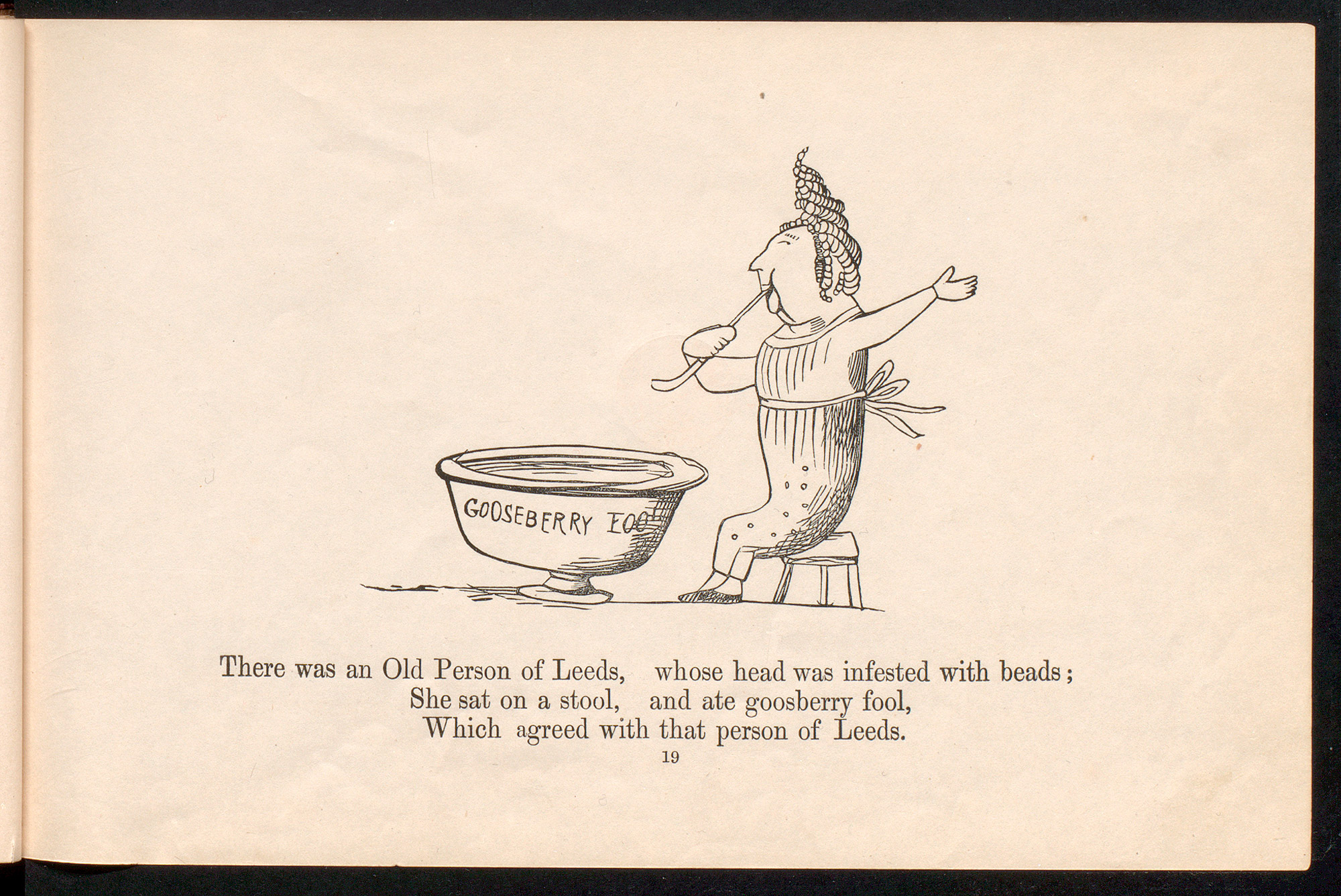 Illustrated page with a limerick about a man making gruel with mice.