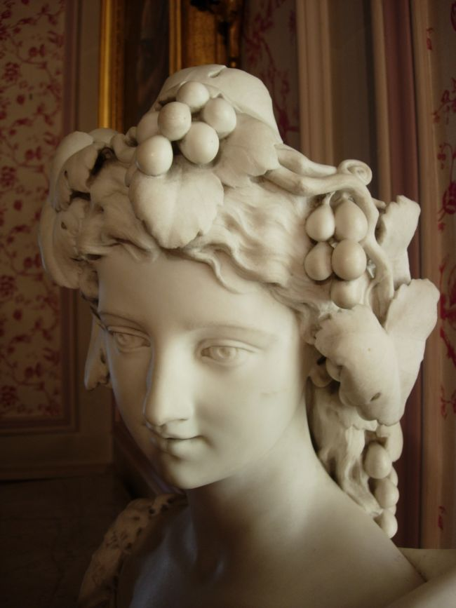 Head of a female figure sculpted from marble