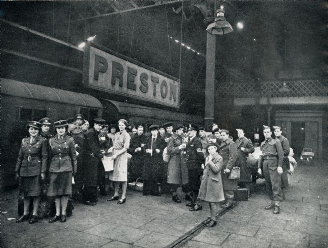 Black and White Photograph  Showing a group of Wrens in Uniform on a Preston Station Platform