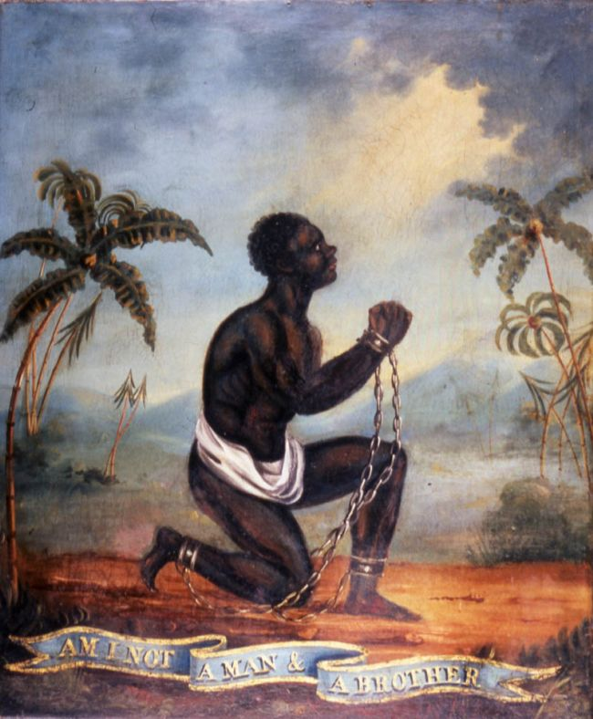 Oil painting depicting a kneeling Enslaved African with the slogan Am I Not a Man and a Brother?