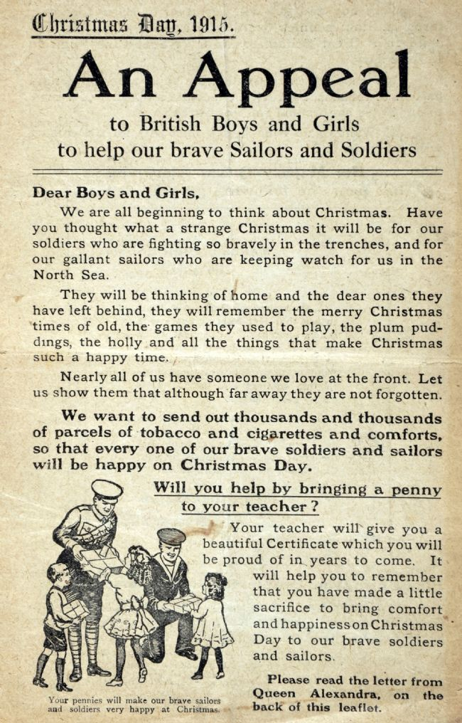 Leaflet from the Overseas Club appealing to children to bring a penny to school to pay for Christmas parcels for soldiers and sailors at the front