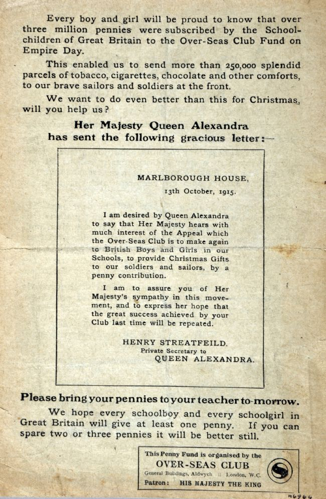 Message from Queen Alexandra in support of the Overseas Club Christmas penny appeal, 1915