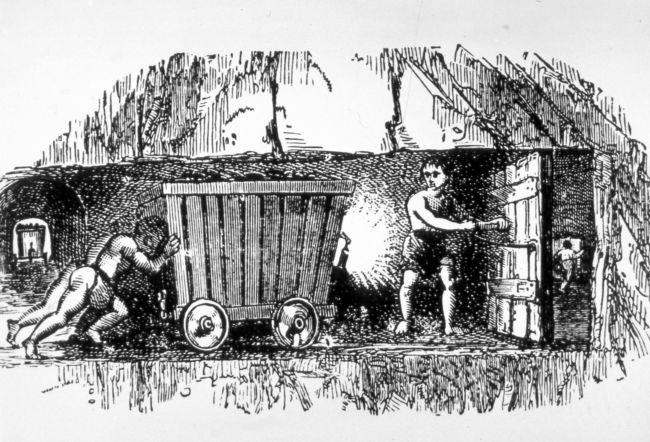 Children at Work - Black and white illustration of children ...