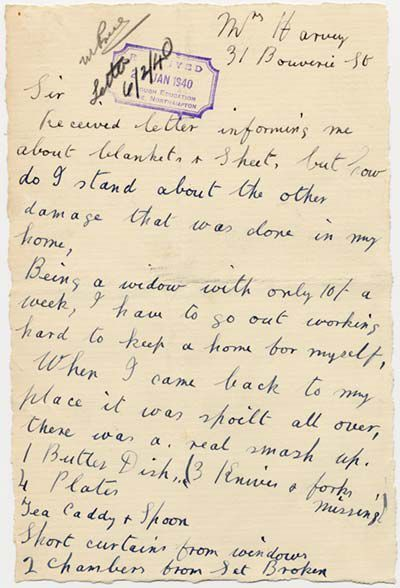 """Handwritten complaint letter about Evacuees.  Part of it reads, """"when I came back to my place it was spoilt all over, there was a real smash up""""."""
