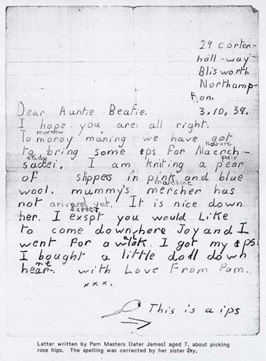 """A letter home from a Northamptonshire Evacuee.  It starts, """"Dear Auntie Beatie, I hope you are all right.  Tomorrow morning we have got to bring some ips for nature study.  I am knitting a pair of slippers in pink and blue wool."""