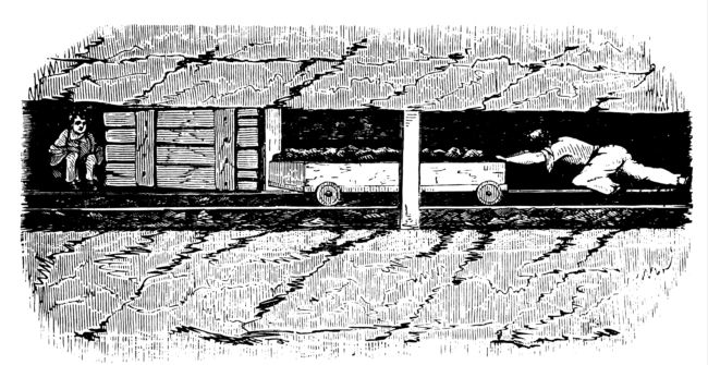 Illustration of a Victorian thruster pushing a coal tub, and trapper opening a ventilation door