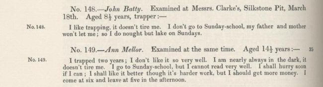 1842 Commisioners' findings on schooling for mining children