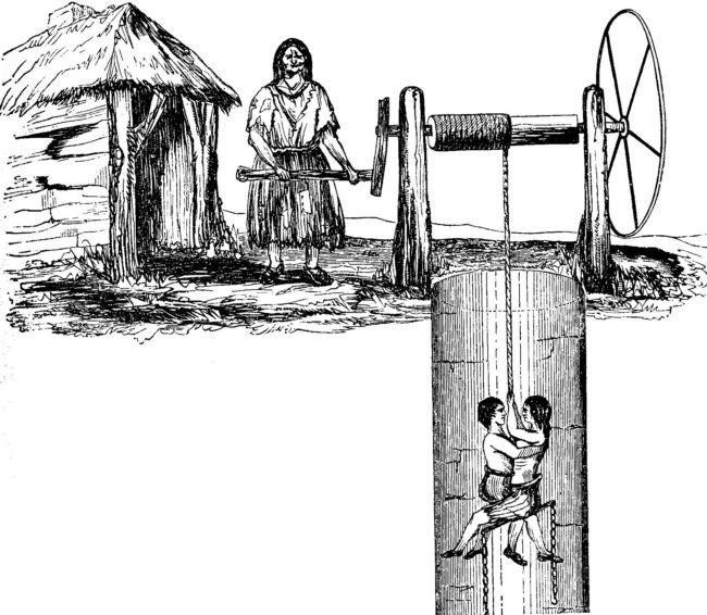 An illustration from 1842 Commissioners' Report showing woman lowering two children down a mine shaft