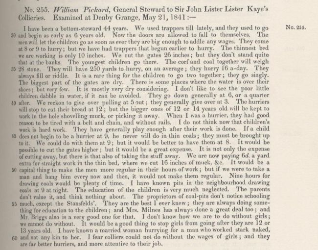 An account from the 1842 Commissioners' Report showing health issues of miners