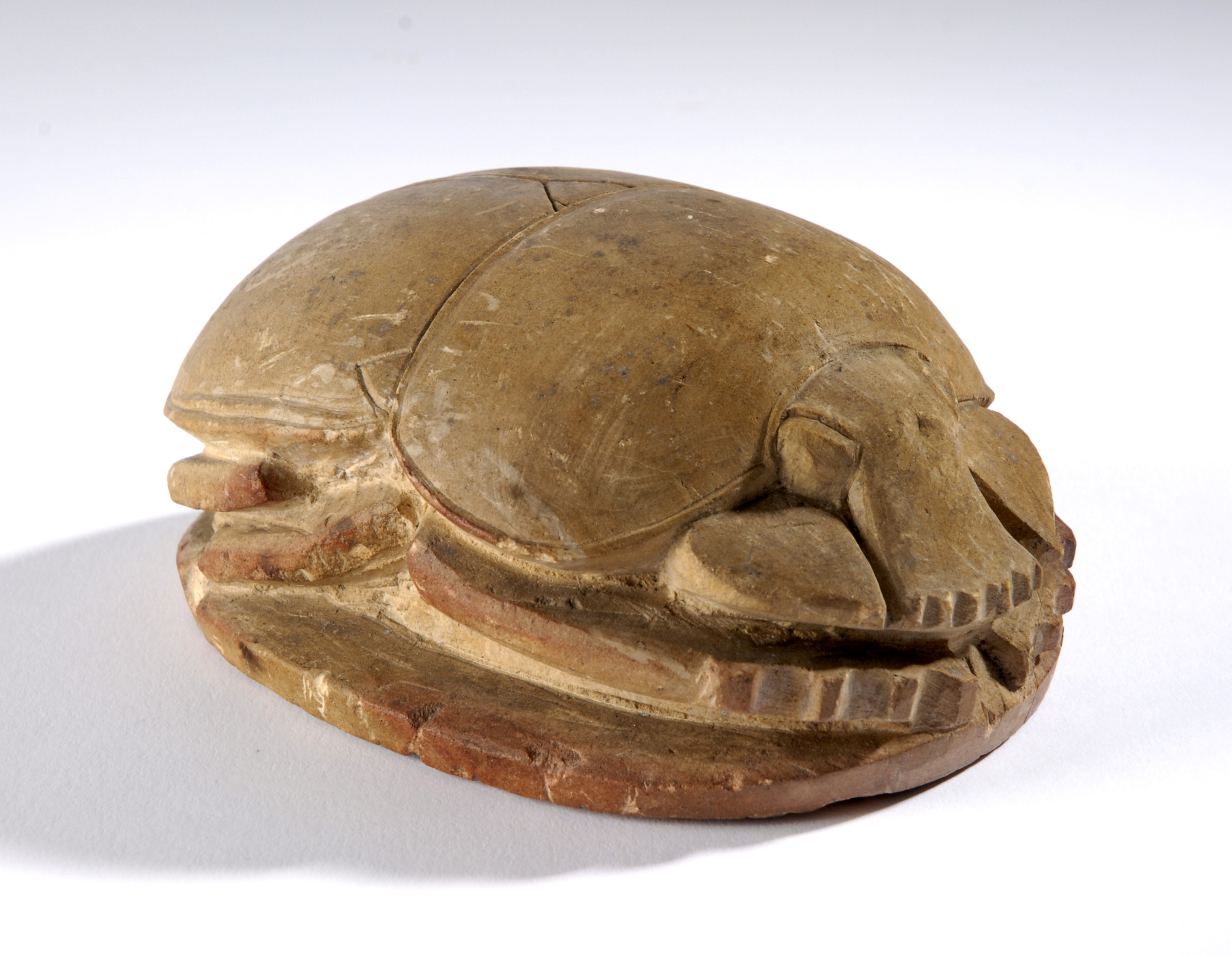 Pale brown amulet in the shape of a scarab beetle