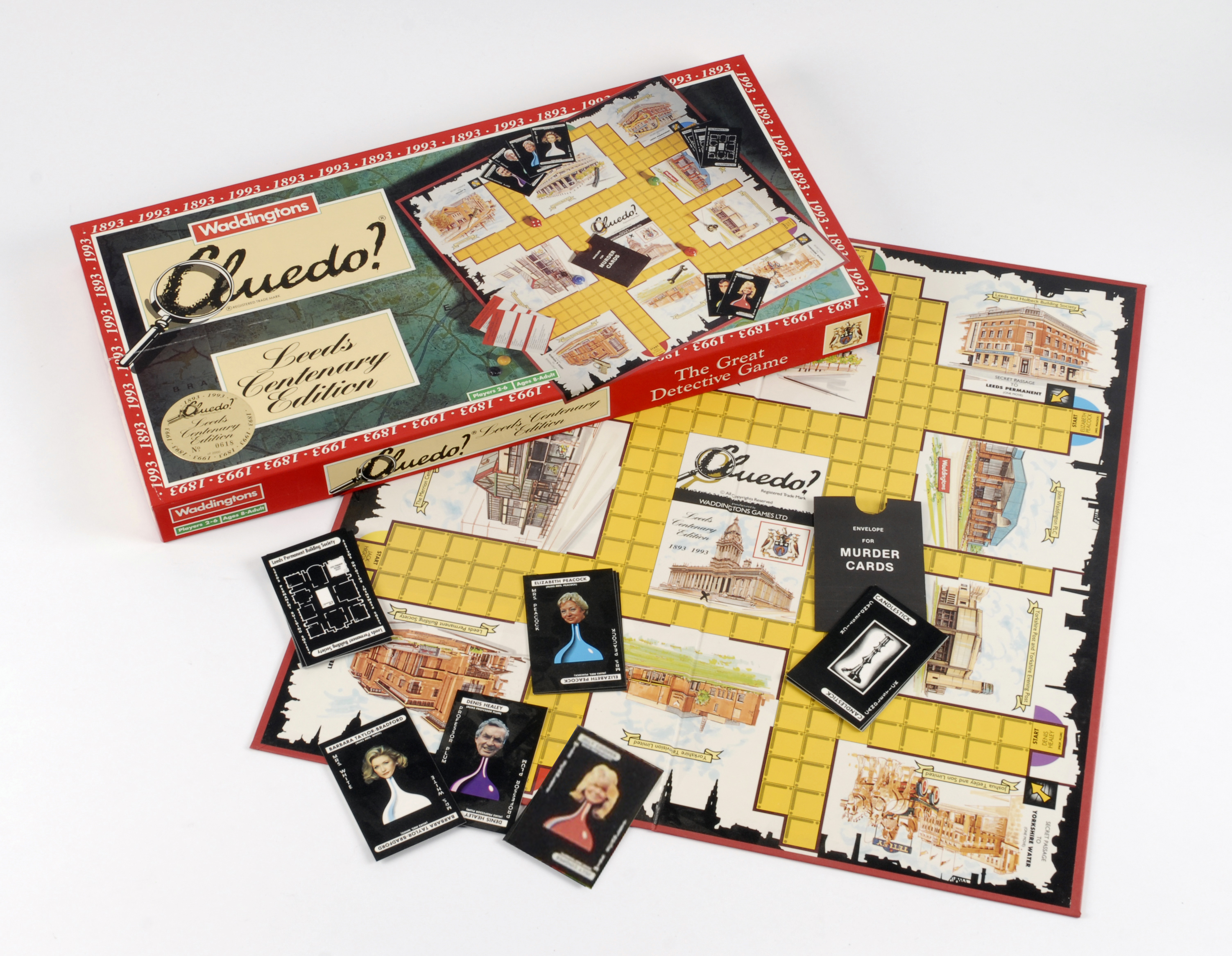 Leeds Cluedo featuring buildings and famous people from the city.