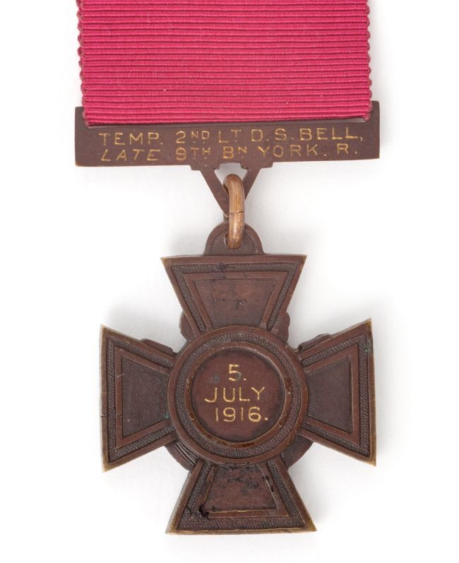 Back of WW1 Red Cross Medal inscribed '2nd L.T. D.S. Bell LATE 9TH BN YORK R, 5 July 1916'