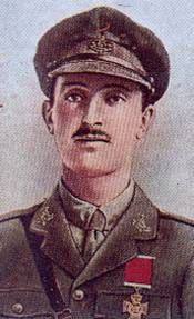 Cigarette card showing an illustration of Donald Simpson Bell, wearing his military uniform and with his Victoria Cross