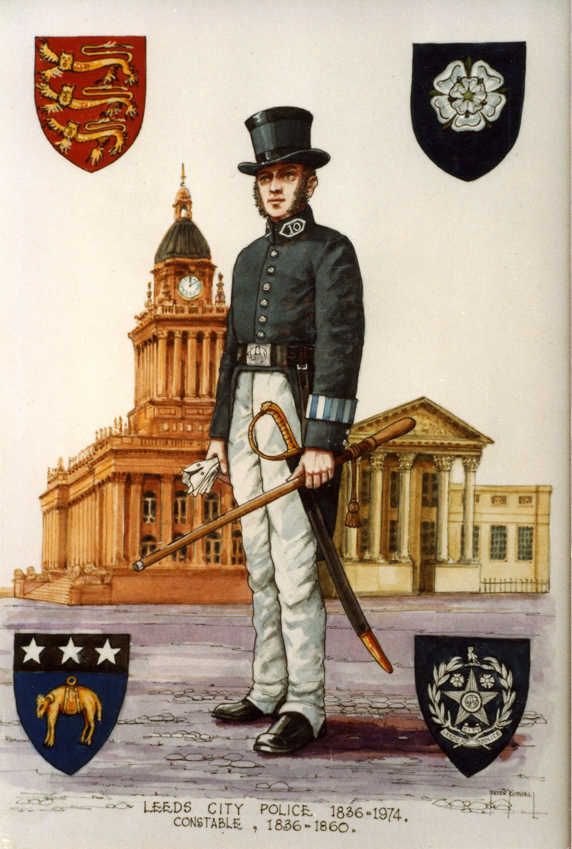 The police constable wears a black top hat and tailcoat, with white  trousers.  He is armed with a sword and a long wooden truncheon.