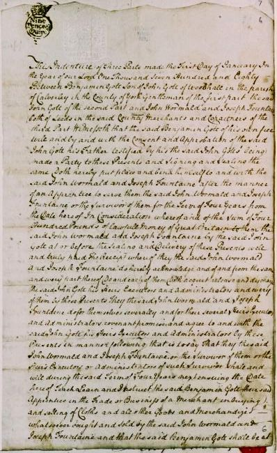 Close up photograph of Gott´s Apprentice papers (1779)