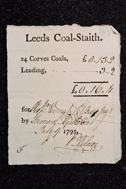 Photograph of a letter from Gott expressing his interest in a recipt for coal at Bean Ing © Leeds University Archives