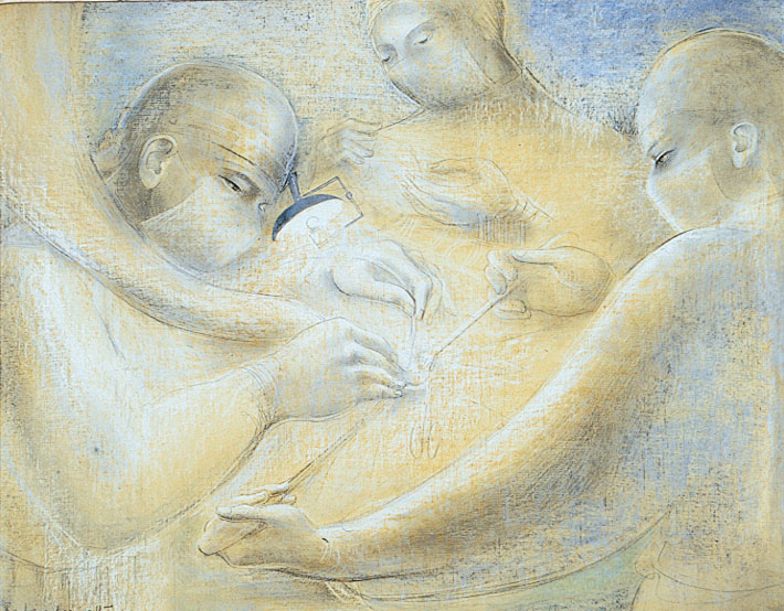 Drawing in tones of blue and white on buff coloured paper. It shows the masked faces of three medics operating on a patient's ear