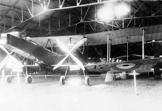 Black and white photograph of early aircraft