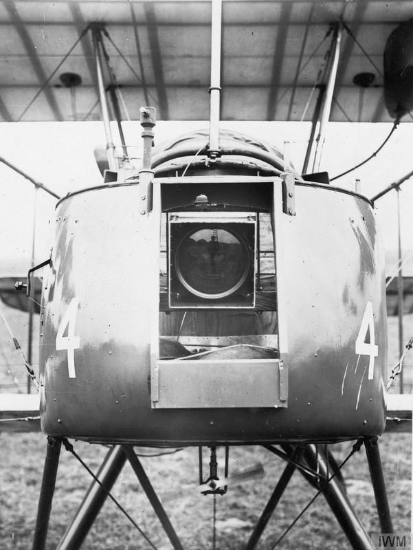 Aerial Camera Mounted on the Nose of an FE2 Aircraft