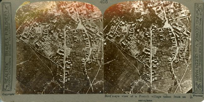 Stereoscope black and white aerial photograph of a French village