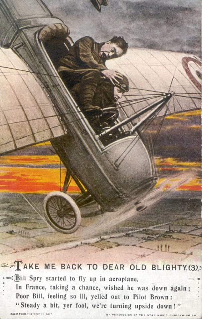 Colour-tinted postcard showing a passenger clinging on to a pilot as the aircraft steeply descends