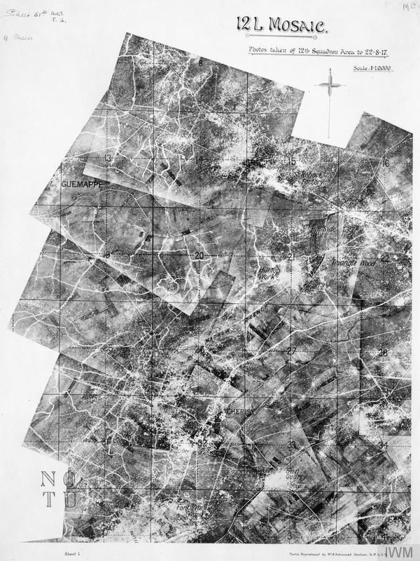 Mosaic of aerial photographs of the trenches taken during the First World War