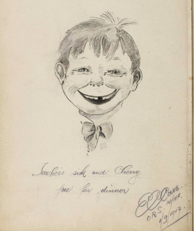 Pencil portrait sketch of a happy-looking boy with a missing tooth