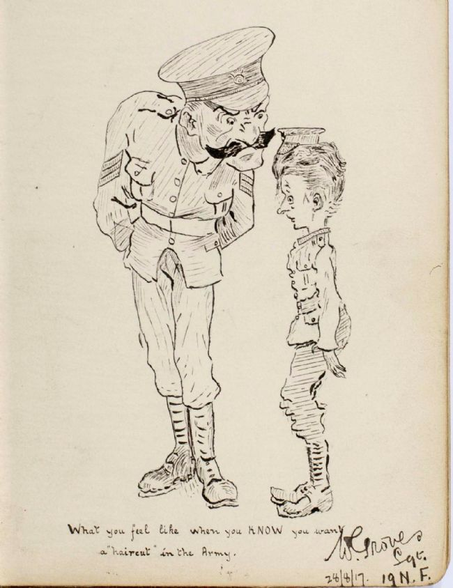 Pen and ink sketch of a junior soldier who needs a haircut, describing how he feels as he is inspected by a senior officer